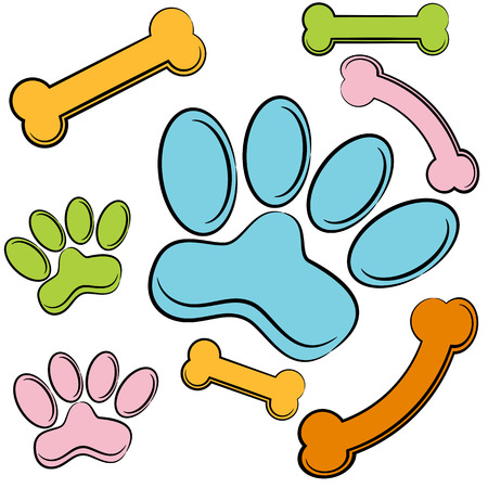 An image of a set of paws and bones.
