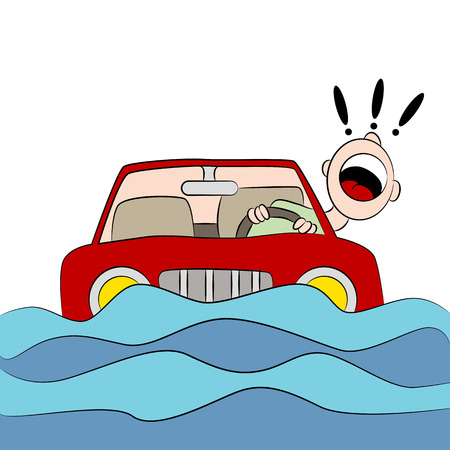 An image of a drvier trapped in his car during a flood. Stock Vector - 33282421