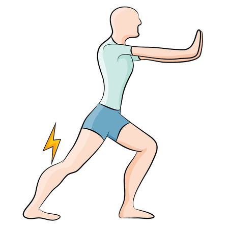 An image of a man stretching his calf muscle. Vector