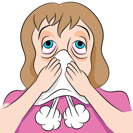 blowing nose: An image of a woman blowing her nose.