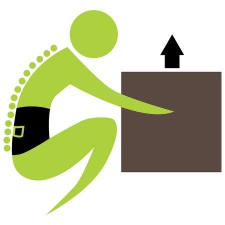 colonna vertebrale: L'immagine di una colonna vertebrale figura scatola di sollevamento.