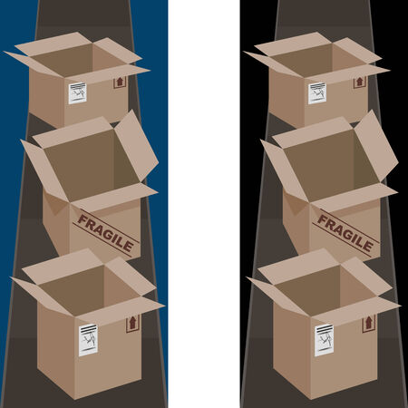 cinta transportadora: Un banner vertical de cajas de envío. Vectores