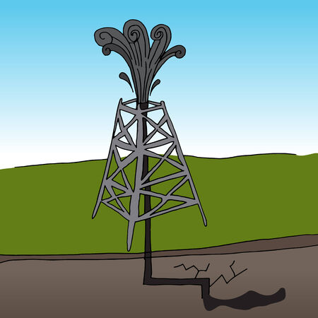 gusher: An image of a fracking oil rig. Illustration