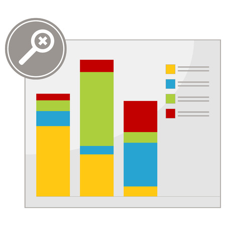 An image of a magnify chart. Vector