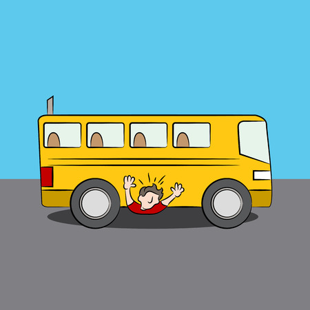 An image of a man under a bus. Ilustracja