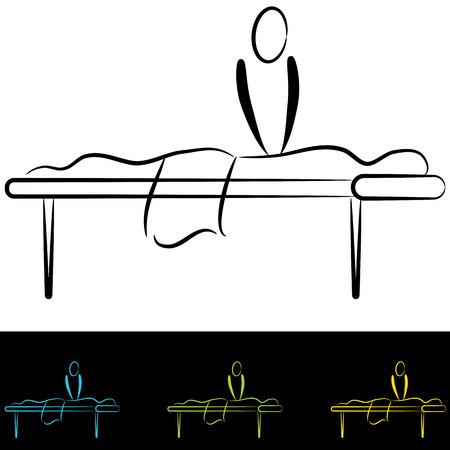 マッサージ テーブルで人々 の画像。  イラスト・ベクター素材