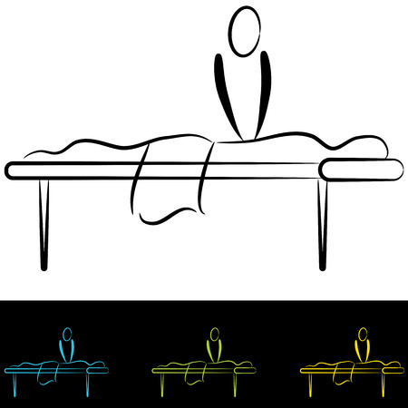 An image of people at a massage table. Illustration