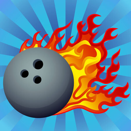 flaming: An image of a flaming bowling ball.