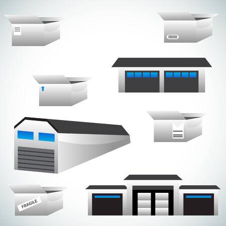 An image of warehouse icons. Çizim