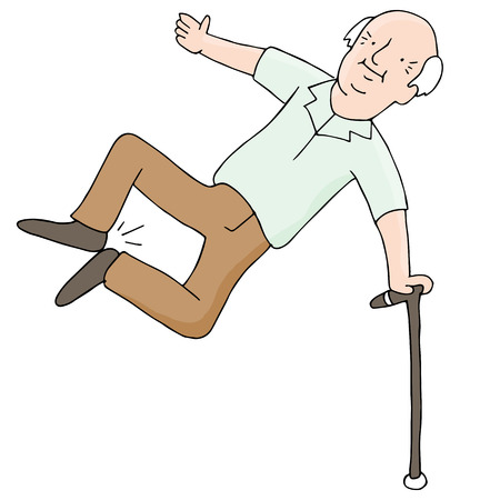 An image of an older man clicking his heels.