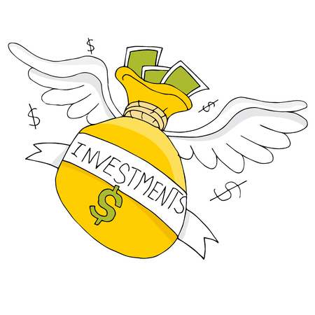 flying money: An image of a soaring bag of an investment bag. Illustration