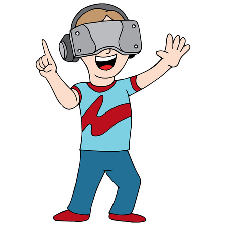 An image of someone playing a virtual reality video game. 向量圖像