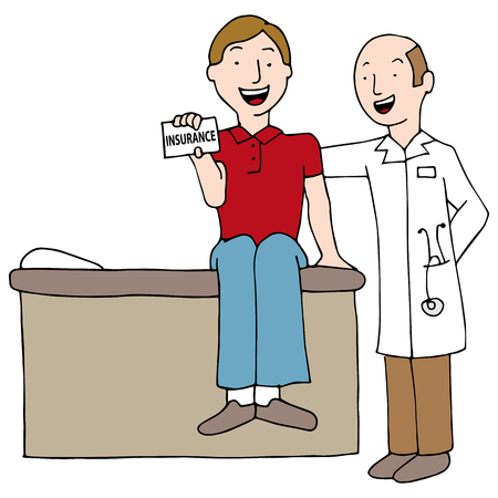 patient care: An image of a doctor with patient holding an insurance card.