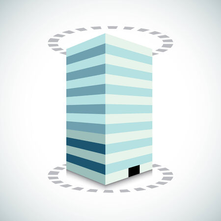 high rise: An image of a 3d building with dotted lines.