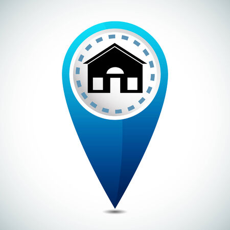 three points: An image of a 3d home location icon.