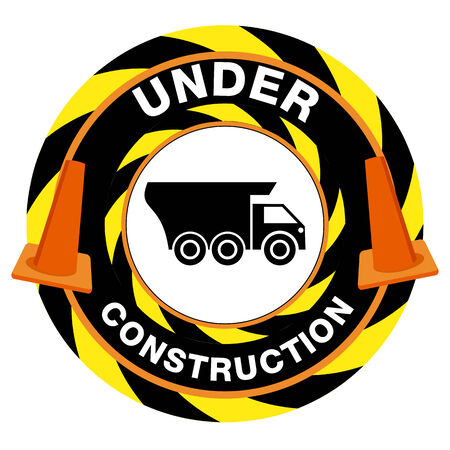 An image of an under construction warning sign.  イラスト・ベクター素材
