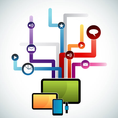 smart: An image of a network of smart devices. Illustration