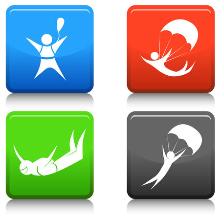 sky dive: An image of skydiving icons. Illustration