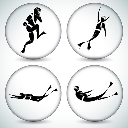 flippers: An image of a scuba diver icon set.