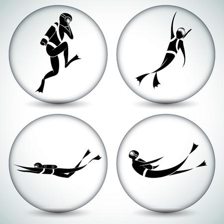 An image of a scuba diver icon set.