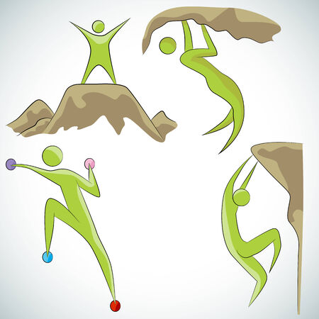 An image of a rock climbing icon set. Illustration