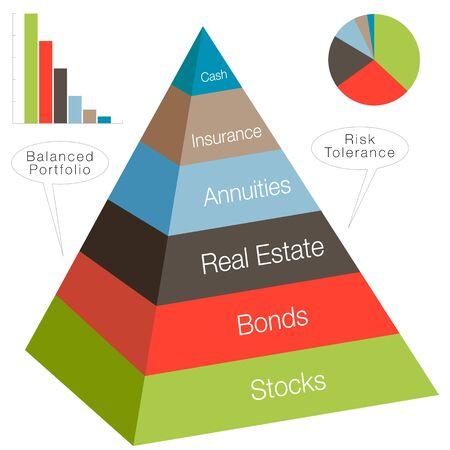 tolerancia: Una imagen de una pirámide de inversión 3d. Vectores