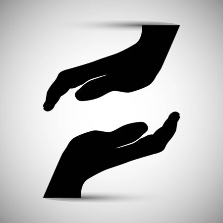 coming together: An image of two silhouette hands coming together. Illustration