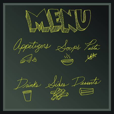 side menu: An image of a menu board with list of items.