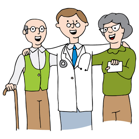 patients: An image of a doctor with his elderly patients. Illustration