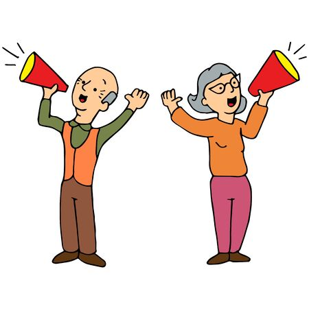 yelling: An image of two seniors yelling through a bullhorn.
