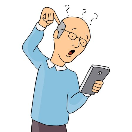 using smart phone: An image of a senior confused with using a smart phone.