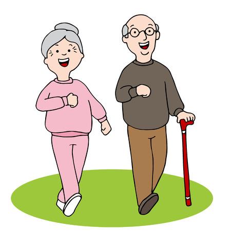 An image of two seniors walking. 일러스트