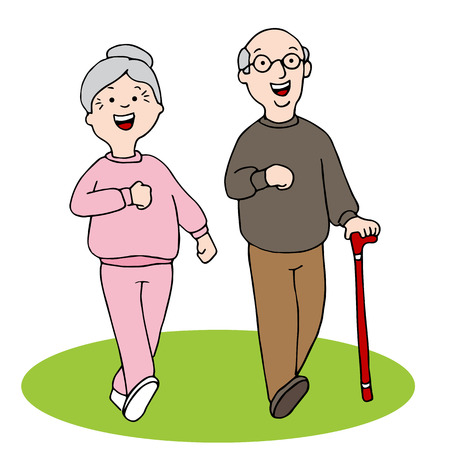 work out: An image of two seniors walking. Illustration