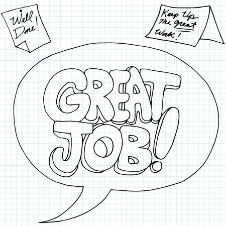 great job: An image of positive work performance messages.