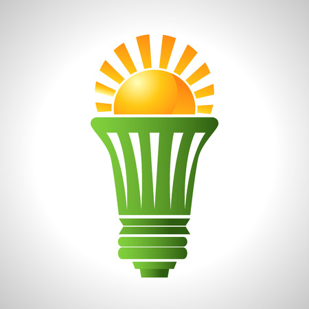 led: An image of a lightbulb that uses solar energy. Illustration
