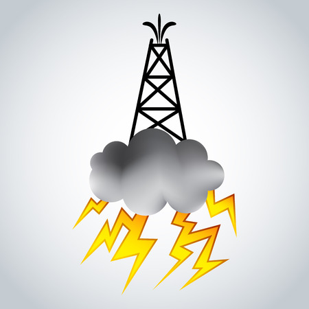gush: An image of a fracking rig with cloud and lightning.