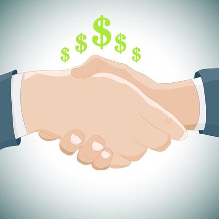 Een beeld van een bedrijf handdruk. Stock Illustratie