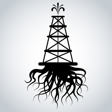 An image of a fracking rig with roots icon.
