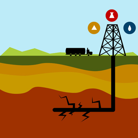 fracking: An image of a fracking diagram.