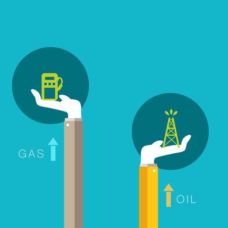 Een afbeelding van de stijgende ondersteuning voor olie en gas.