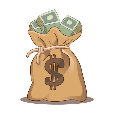 Una imagen de una bolsa de dinero. Ilustración de vector