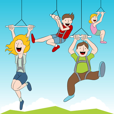 pulley: An image of people riding a zip line.