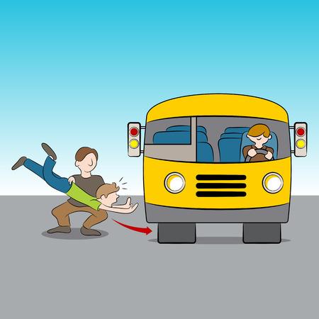 バスの下でスローされてのメタファーのイメージ。