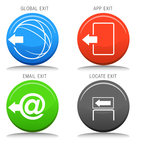 An image of a set of exit icons. Vector