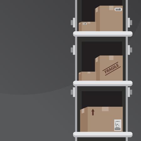cinta transportadora: Una imagen de las cajas que se envían. Vectores