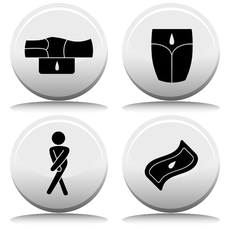 incontinence: An image of a incontinence button set.