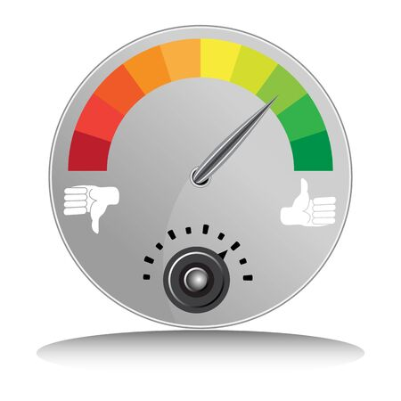 disapprove: An image of a like and dislike meter.