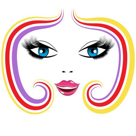 An image of the face of a beautiful woman. Ilustração