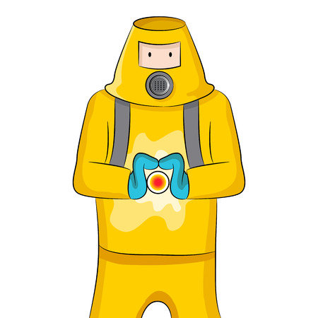 protective suit: An image of someone in a protective suit containing a virus.