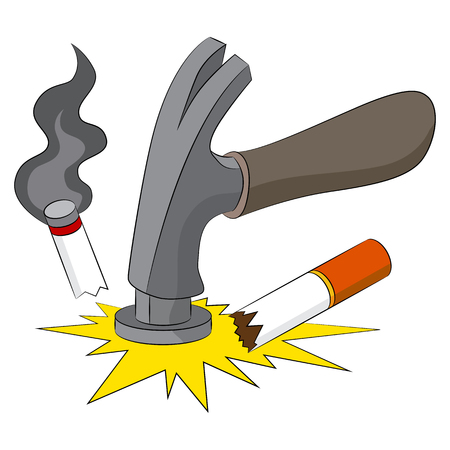 An image representing the breaking of the bad habit of smoking. Ilustração